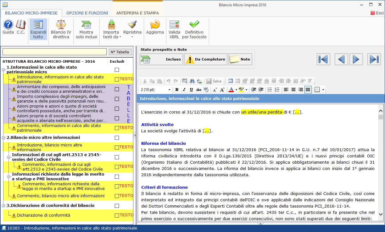 Albero Editor Bilancio Micro-imprese