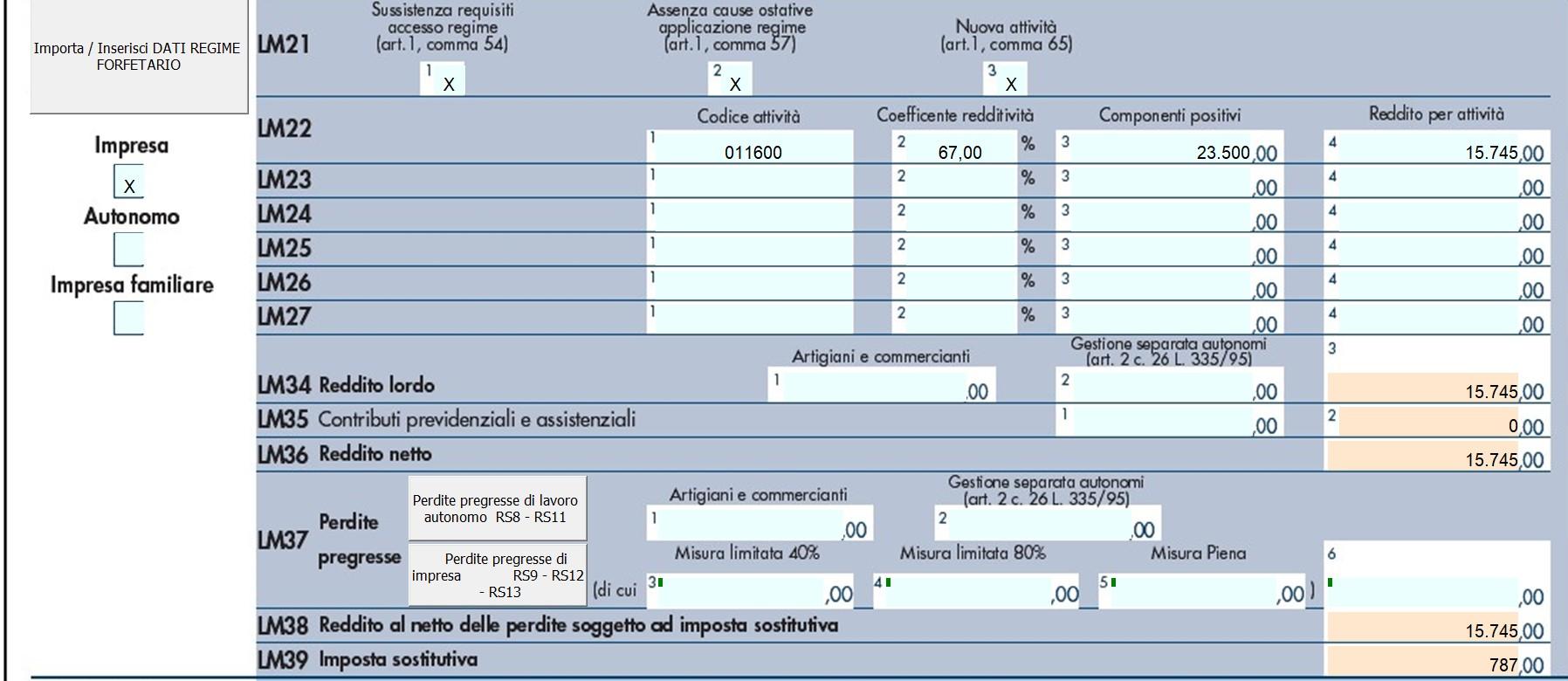 Compilazione Quadro LM 2019: contribuente forfetari - 4