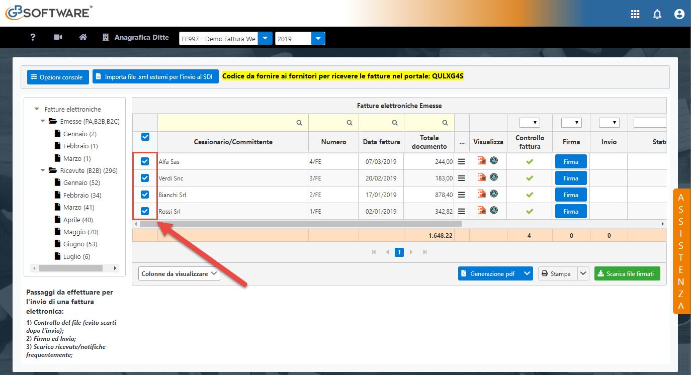 Console Web 2019: scarico automatico ricevute e operazioni multiple - 4