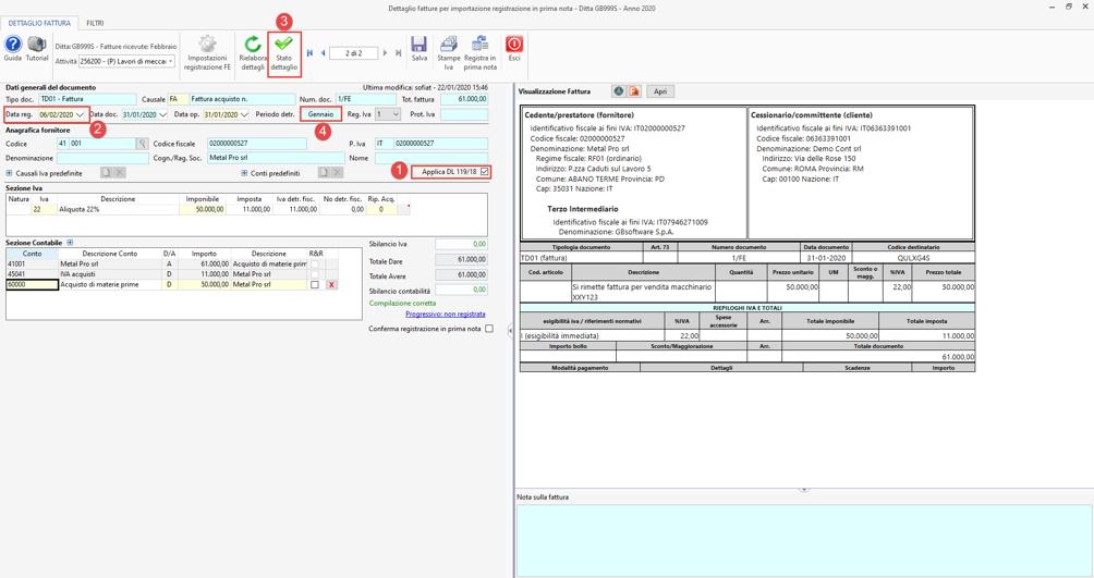 Detrazione IVA fattura elettronica: DL 119/2018 - Elaborazione corretta
