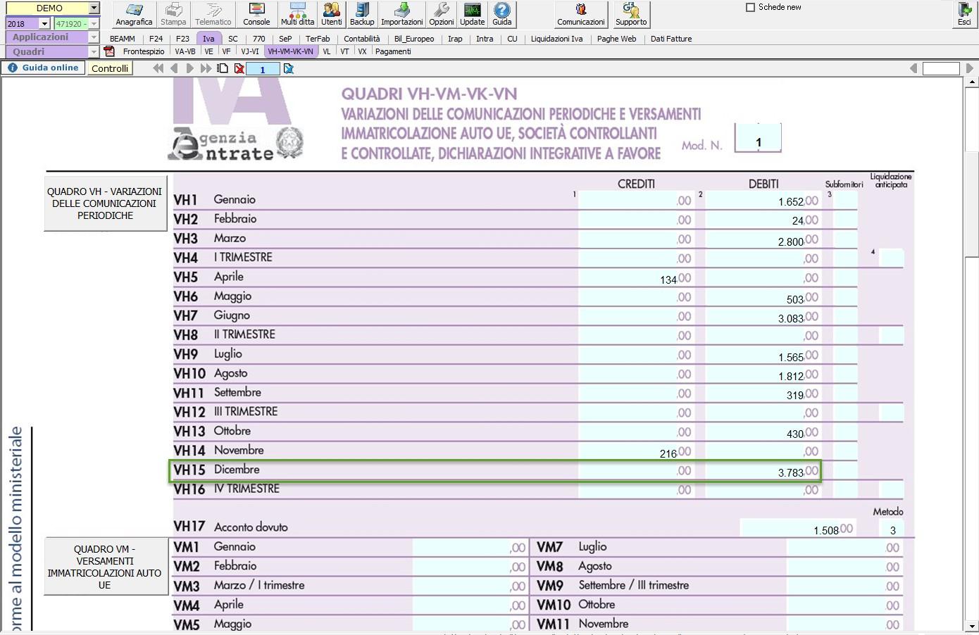 Dichiarazione IVA 2019: casi di compilazione del quadro VH - 4