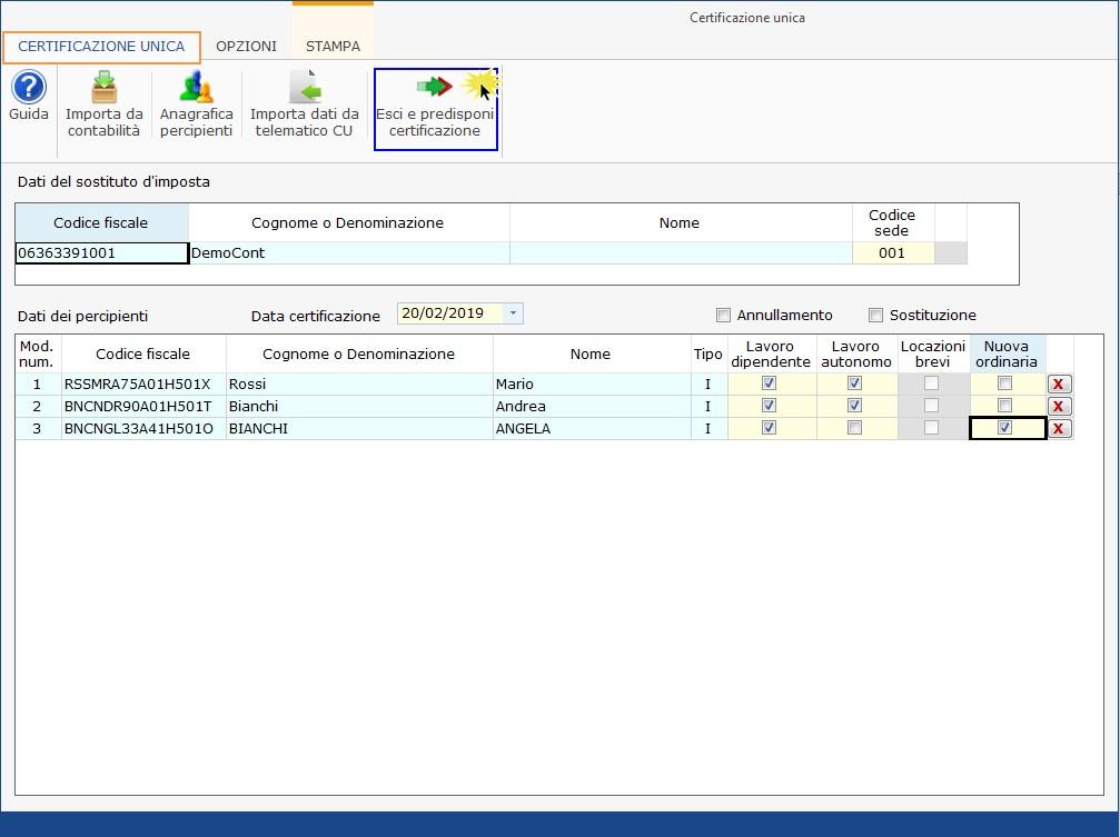 Caso pratico: nuovo file telematico con CU non trasmessa nel primo invio - 4