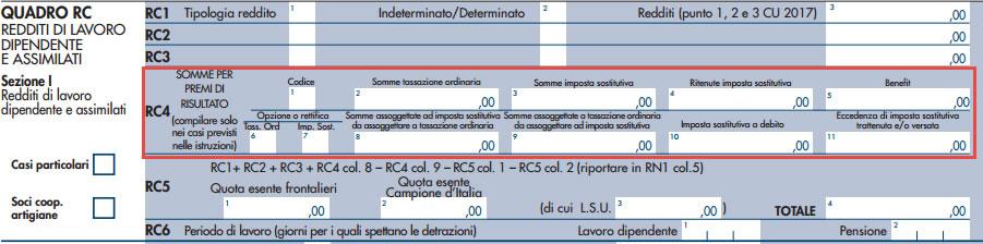 Modello Redditi Persone Fisiche 2017 - Rigo RC4