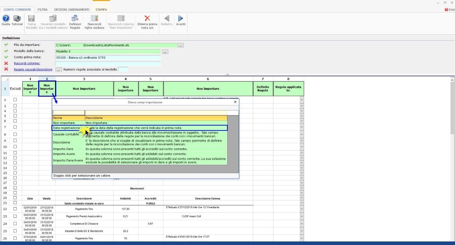 Software Importazione estratto conto bancario - Definizione intestazioni colonne
