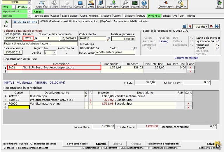 Autotrasportatori regime speciale iva software for Registrazione preliminare di vendita