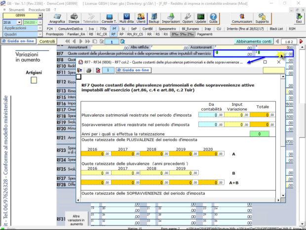 Quadro RF – Reddito di impresa in contabilità ordinaria