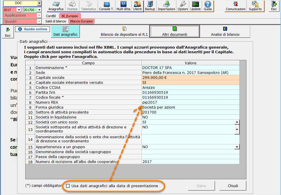 Bilancio Europeo 2018: inserimento dati anagrafici - 5