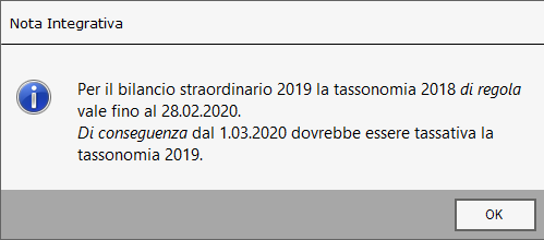 Bilancio Straordinario 2019 con tassonomia 2018: rilascio applicazione - 5