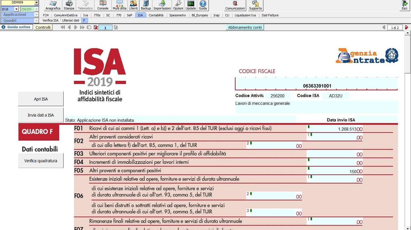 ISA - Indici sintetici di affidabilità fiscale 2019: rilascio applicazione - 5