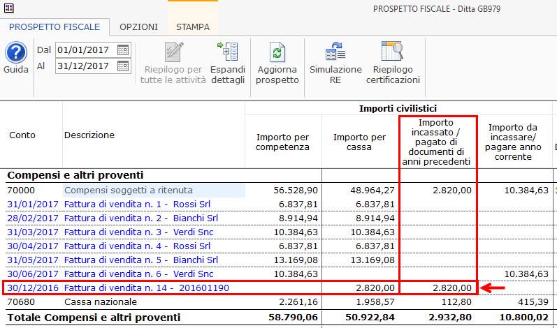 Importo incassato/pagato di documenti di anni precedenti
