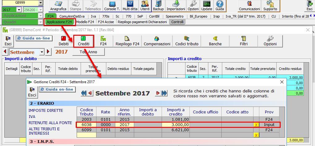 Gestione Crediti F24