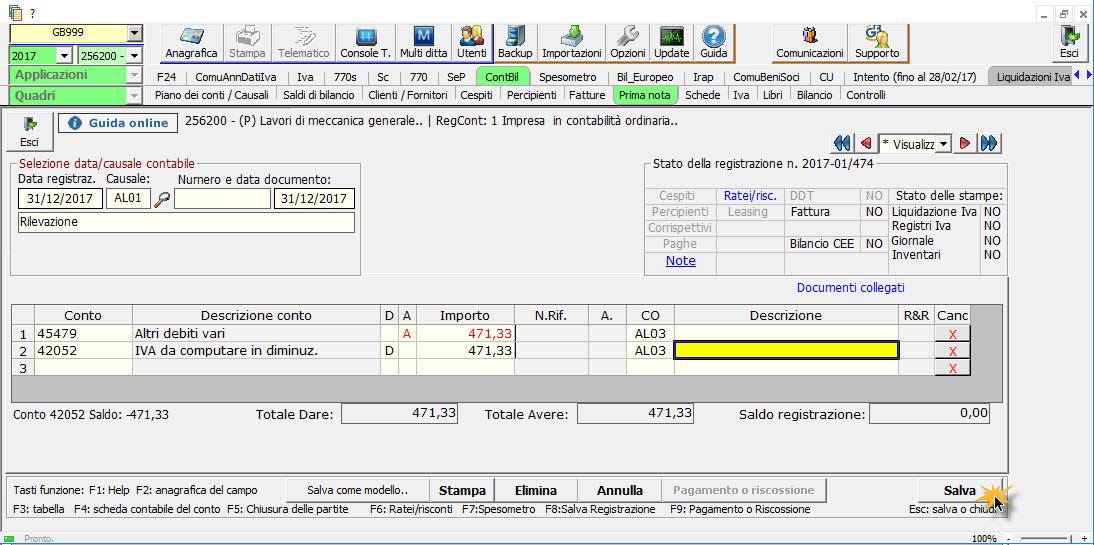 Caso pratico: Saldo del conto non corretto nel Bilancio Europeo - 5