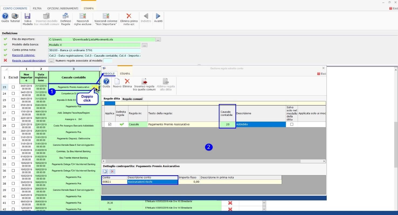 Software Importazione estratto conto bancario - Creazione regole