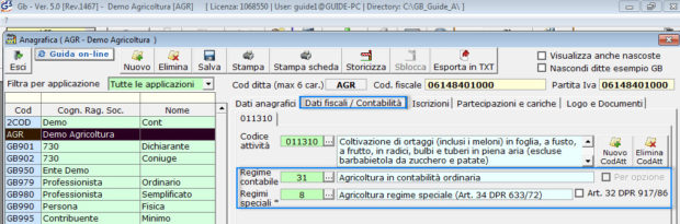 Software Regime Agricoltura - Software Contabilità GB