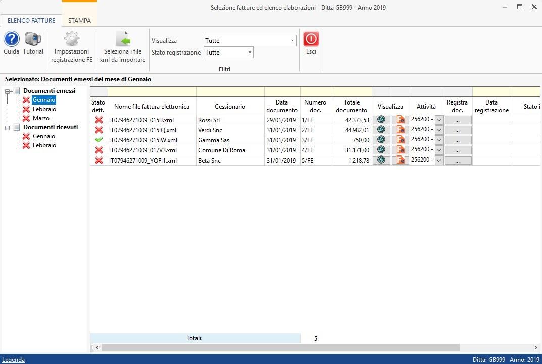 Software Importazione fatture elettroniche XML in Prima Nota - Suddivisione per mese di fatture emesse e ricevute