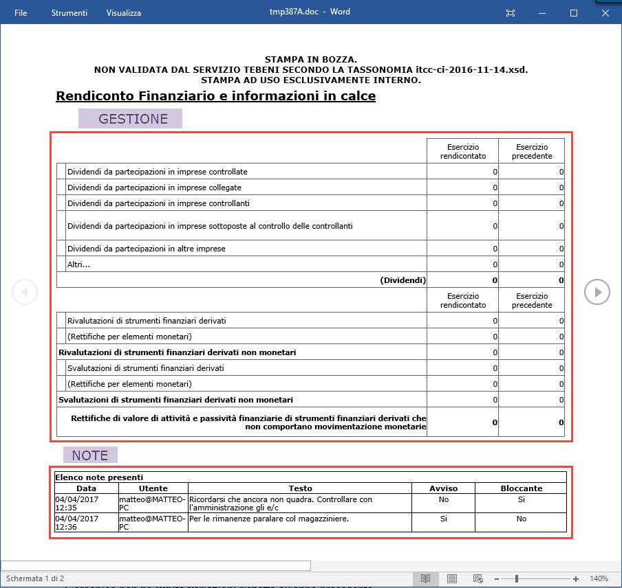 Visualizzare o stampare anche le note o le gestioni presenti nel GB ma non nell'xbrl