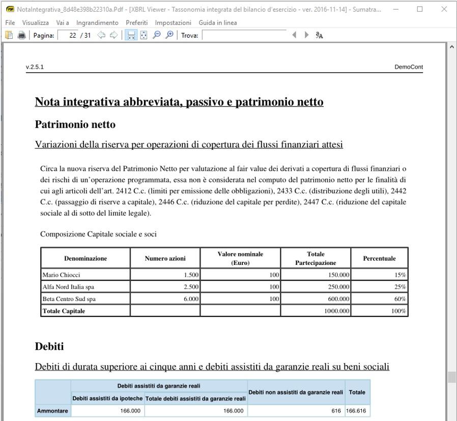 Stampa pdf tabella aggiuntiva da editor
