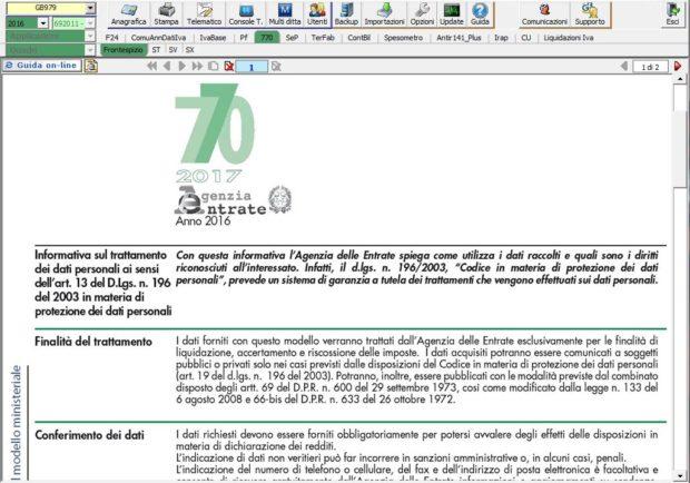 Modello 770 nel software INTEGRATO GB