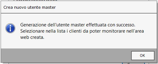 Utente master: unico accesso per lo studio agli ambienti web dei clienti - Generazione utente conclusa