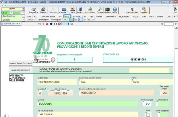 Produzione dati per 770 semplificato