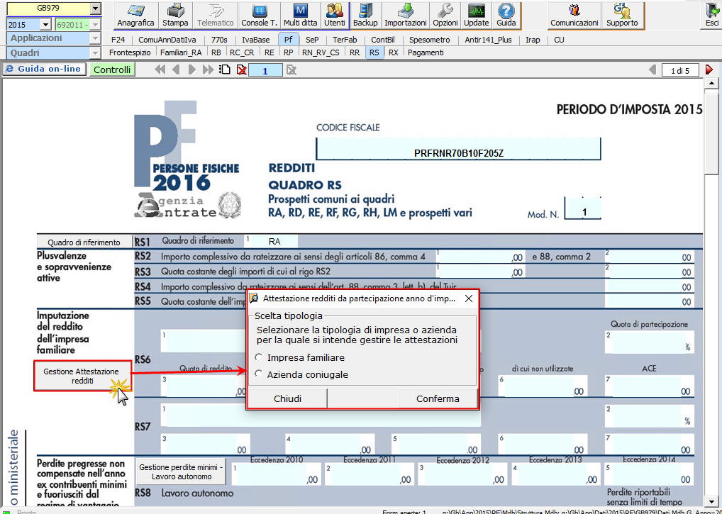 Scelta tipologia impresa/azienda