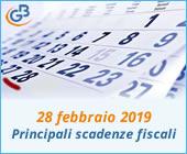 28 febbraio 2019: principali scadenze fiscali
