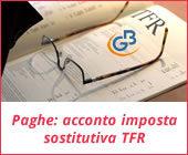 Paghe GB Web 2017: Acconto imposta sostitutiva sulla rivalutazione del TFR