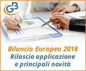 Bilancio Europeo GB rilascio applicazione e principali novità 2018