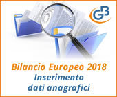 Bilancio Europeo 2018: inserimento dati anagrafici