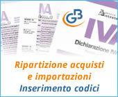 Ripartizione acquisti e importazioni: inserimento codici