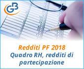 Redditi PF 2018: Quadro RH, redditi di partecipazione