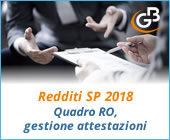 Redditi SP 2018: quadro RO, gestione attestazioni