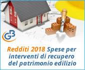 Redditi 2018: Spese per interventi di recupero del patrimonio edilizio