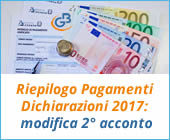 Riepilogo Pagamenti Dichiarazioni 2017: modifica secondo acconto
