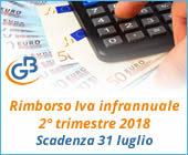 Rimborso Iva infrannuale 2° trimestre 2018: scadenza 31 luglio