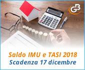 Saldo IMU e TASI 2018: scadenza 17 dicembre