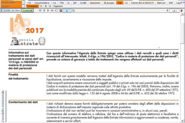 Modello ministeriale Dichiarazione IRAP nel software INTEGRATO GB