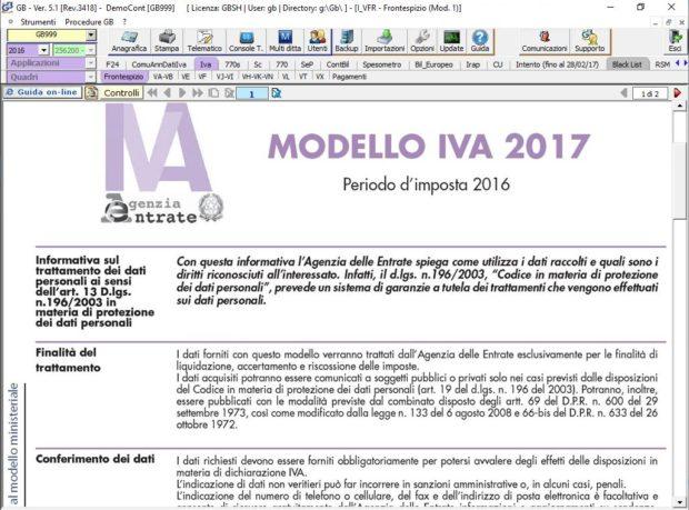 Modello ministeriale della Dichiarazione IVA Annuale nel software INTEGRATO GB