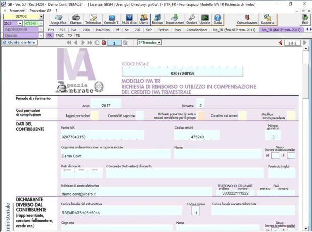 IVA TR – Richiesta di rimborso o utilizzo in compensazione del credito IVA Trimestrale