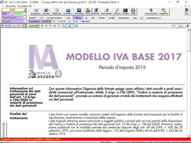 Dichiarazione IVA Base nel software INTEGRATO GB