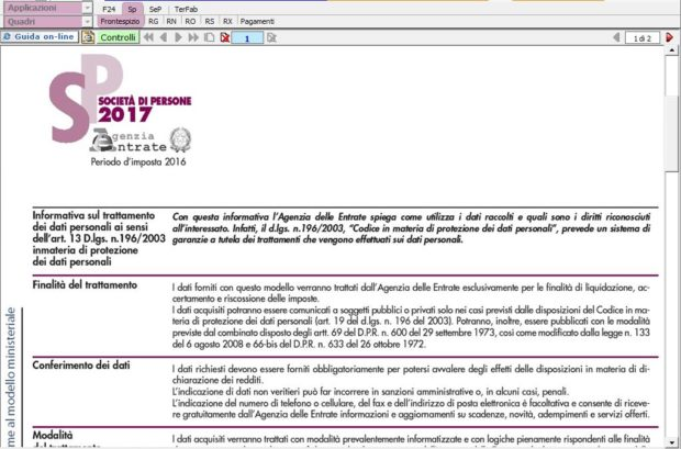 Modello ministeriale Redditi Società di Persone nel software Dichiarazioni GB