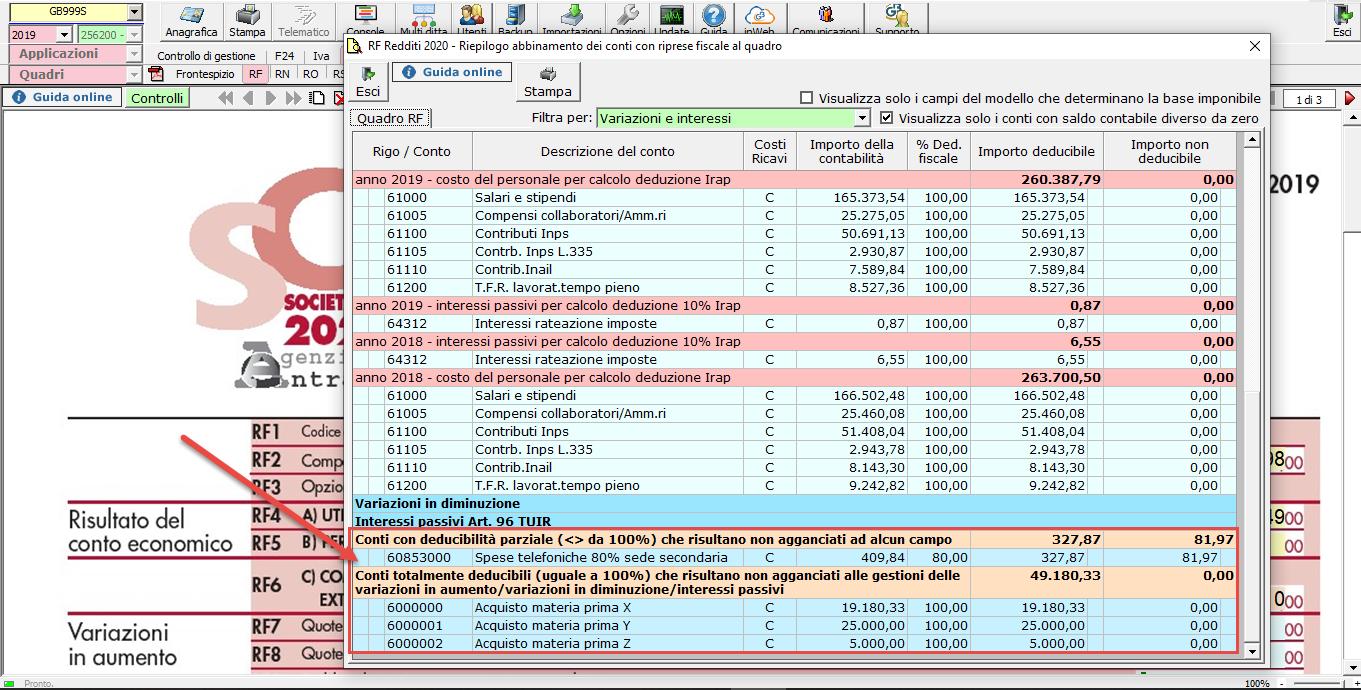 Abbinamento conti: dalla contabilità ai redditi - Quadtro RF dichiarazione dei redditi