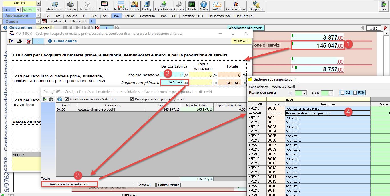 Abbinamento conti: dalla contabilità ai redditi - gestione abbinamento conti quadro RG
