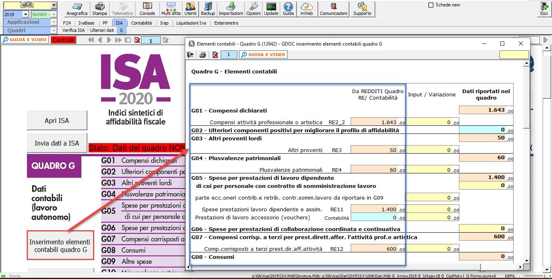 Abbinamento conti: dalla contabilità ai redditi - Inserimento elementi contabili Quadro G