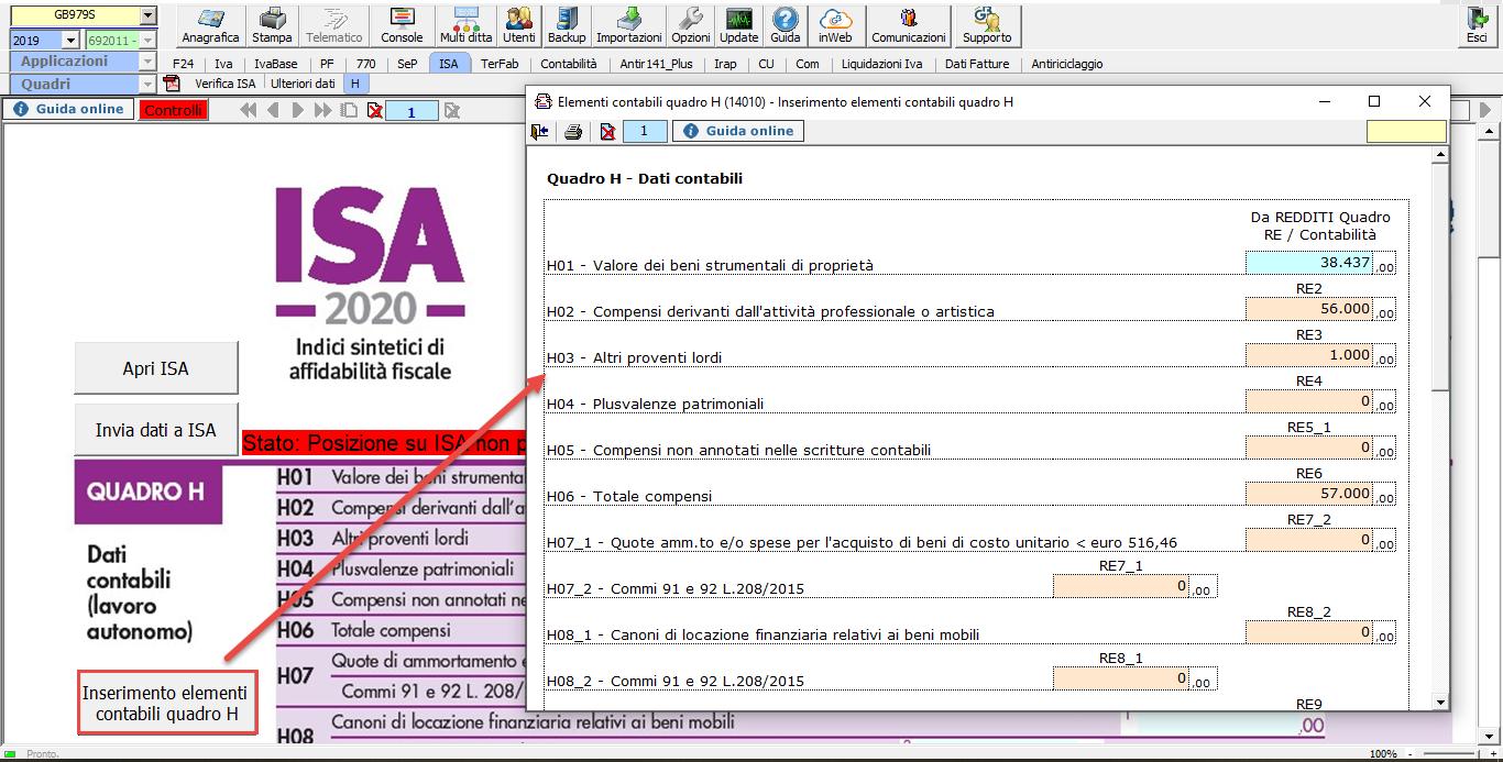 Abbinamento conti: dalla contabilità ai redditi - Inserimento dati contabili quadro H
