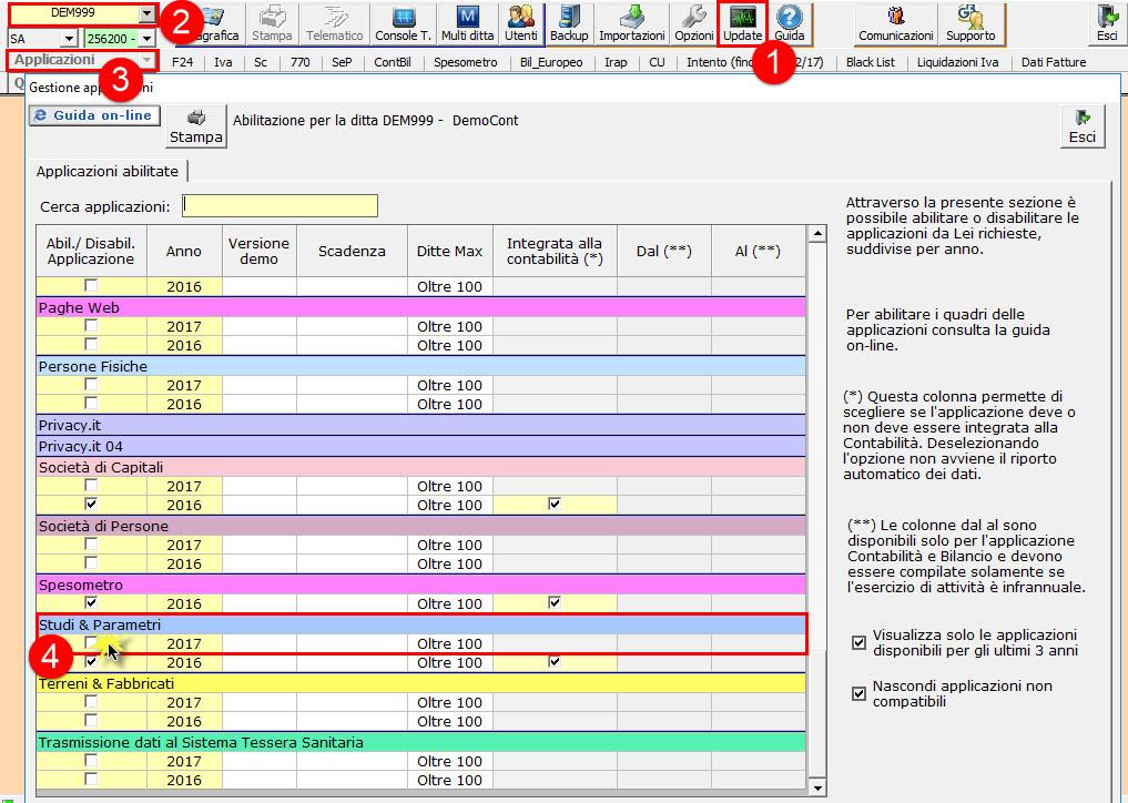 Abilitazione applicazione Studi e Parametri