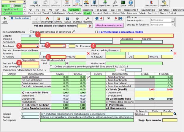 Acquisizione nuovo cliente e gestione dei cespiti: caso pratico -  Dati beni materiale