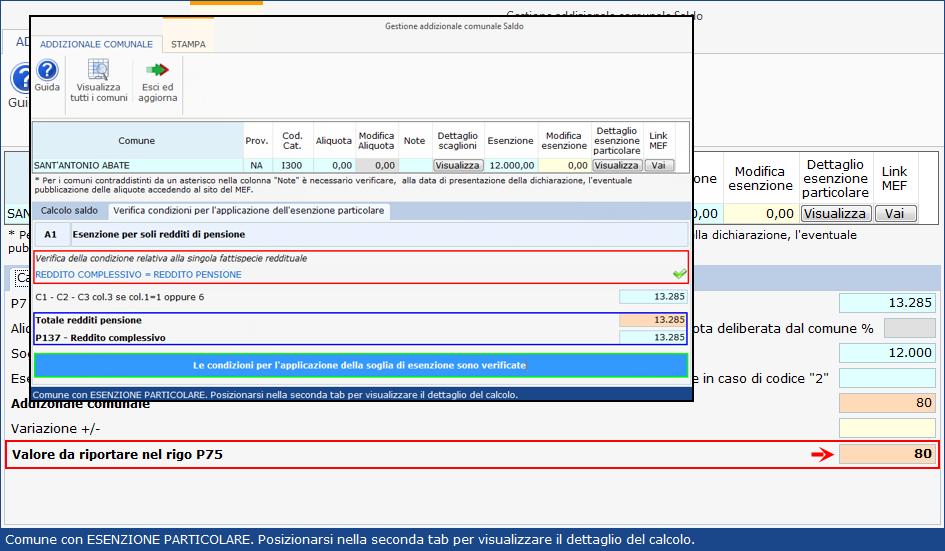 Addizionale comunale 2020: esenzioni particolari - Condizione singola fattispecie verificata