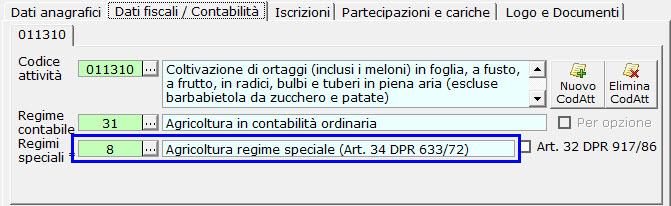 Regime speciale Agricoltura in anagrafica ditta