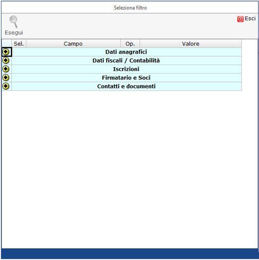 Anagrafica Ditte: nuova Gestione Filtri - Gestione per creare un filtro